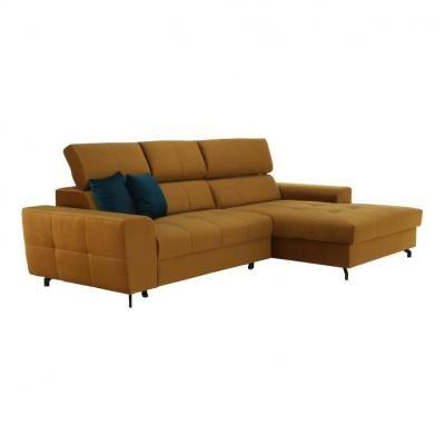 3 személyes kinyitható kanapé, jobbos, mustársárga - FANTASSIN